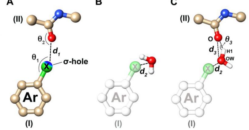 结合位点水分子的卤键替换形成有利的相互作用