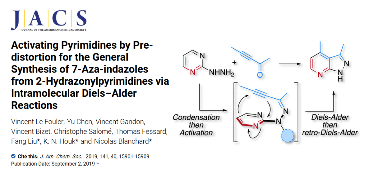 Activating Pyrimidines by Pre-distortion for the General Synthesis of 7-Aza-indazoles from 2-Hydrazonylpyrimidines via Intramolecular Diels–Alder Reactions