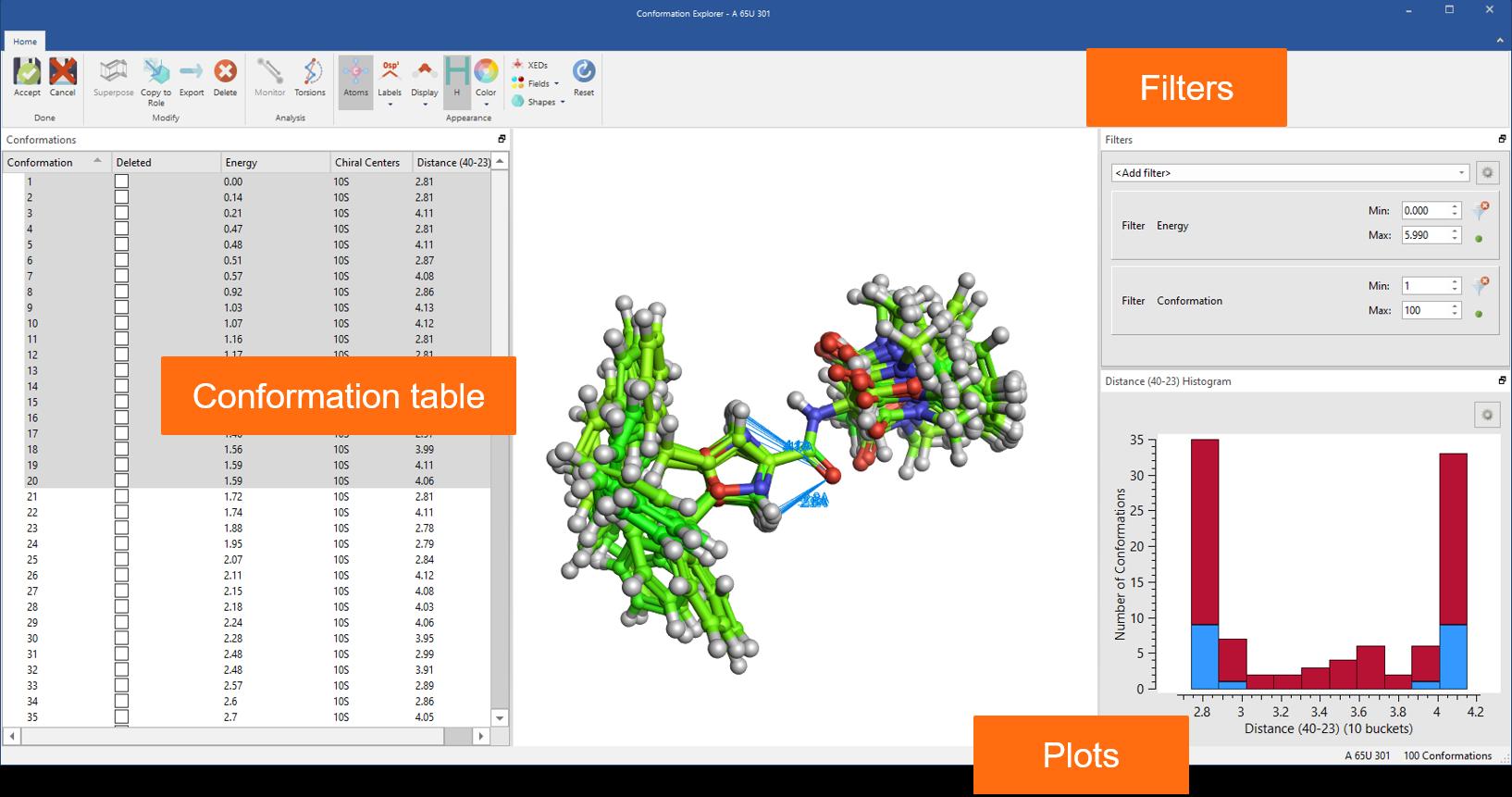 图 8:使用Conformation Explorer来检查和分析Flare中生成的构象分布。