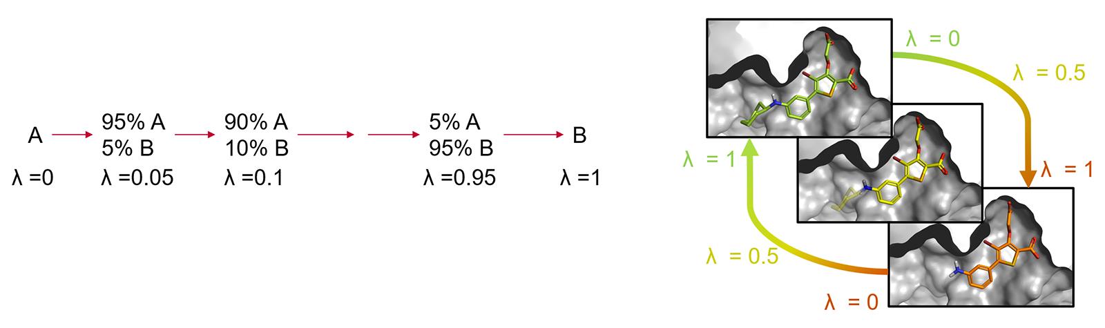 图2. 配体A到B的炼金术转化经由一系列非物理中间体结构