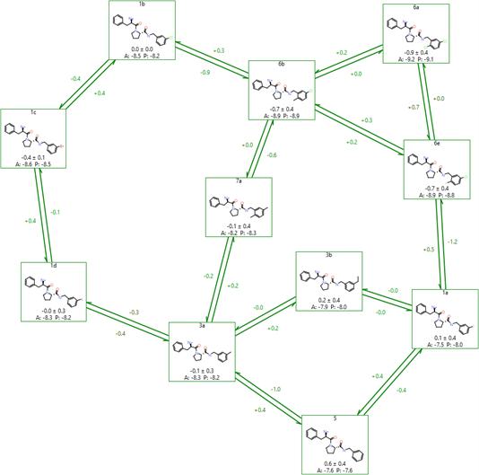 图6. 在Flare中LOMAP创建FEP网络的例子